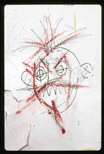 Dessin de Basquiat réalisé dans l'appartement.
