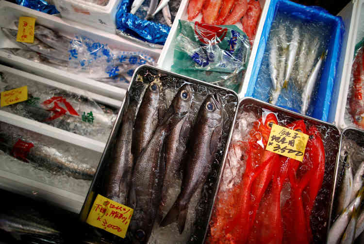 Des poissons japonais bleu et noir sont exposés à côté d'autres poissons en vente au marché aux poissons de Tsukiji, le 29septembre. Sur les étals, 480sortes de produits de la mer, 270variétés de fruits et de légumes, pour une recette quotidienne d'une dizaine de millions d'euros.