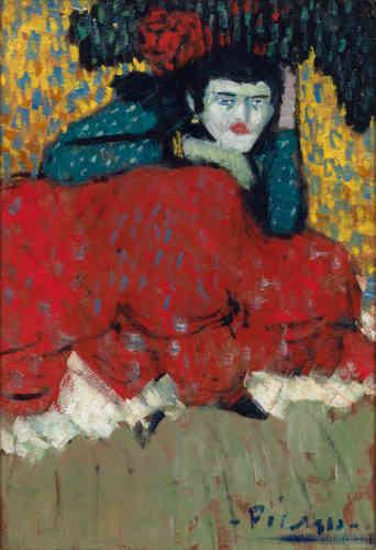 «En 1901, Picasso n'a que vingt ans lorsqu'il représente cette danseuse espagnole.Par sa composition sans profondeur, sa touche en petits points, ses larges aplats de couleurs cernés d'un trait sombre et par la flamboyance de sa palette, l'artiste fusionne en une seule toile toutes les dernières innovations picturales de la fin du XIXe siècle.»