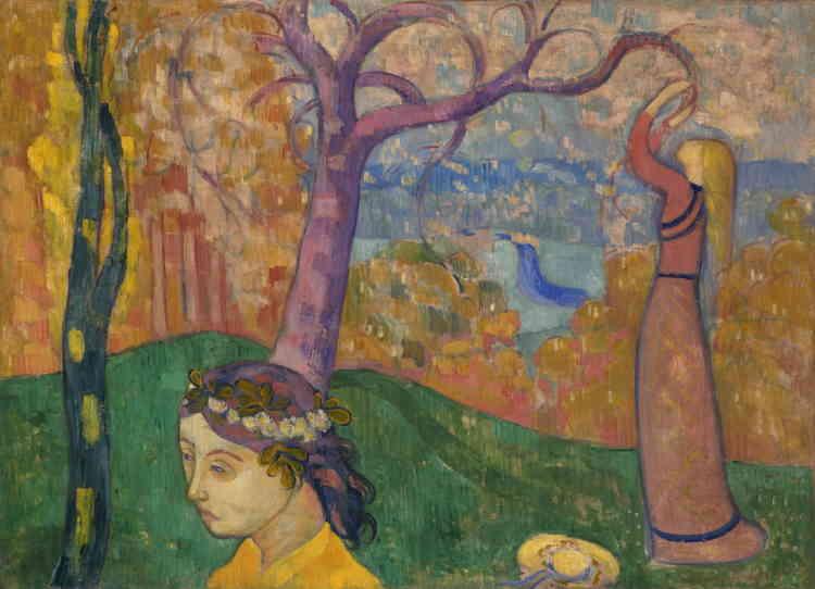 «C'est dans un style synthétiste ‒ simplification des formes, couleurs cernées d'un trait sombre et abolition de la perspective ‒ qu'Emile Bernard peint, dans un paysage de Pont-Aven, sa sœur Madeleine.»