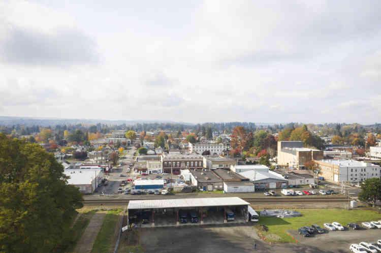 Le centre-ville de Centralia photographié depuis un drone.