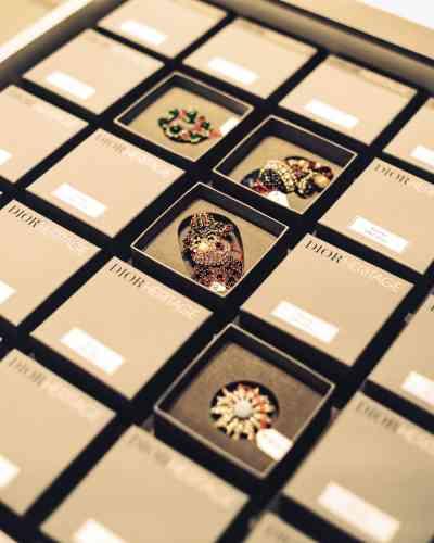 Broches conservées dans leur boîte sur mesure.