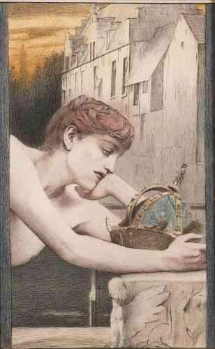 """«Ce dessin est dédié au poète belge Georges Rodenbach, trois ans avant la parution en 1892 de son roman """"Bruges-la-Morte"""". La reine détrônée contemple avec tristesse sa couronne, à l'image de la ville, nostalgique de sa grandeur passée. A l'arrière-plan, on aperçoit les vieux quartiers de Bruges.»"""