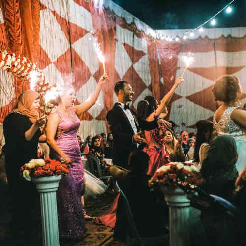 Un mariage. De nombreuses familles choisissent de célébrer des fêtes à Jéricho, en raison des températures clémentes l'hiver.