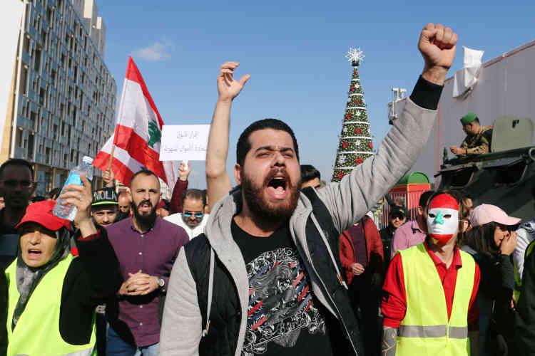 Le Liban a aussi vu des «gilets jaunes» dans les rangs d'une manifestation contre le coût de la vie et la corruption à Beyrouth, le 23 décembre.