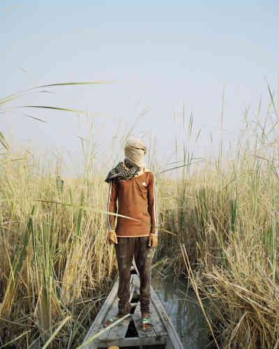 Pêcheur situé dans les marais, au milieu de hauts roseaux.