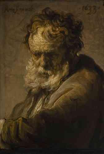 Lara Yeager-Crasselt : «Cette petite et puissante étude d'un vieil homme montre la virtuosité de Rembrandt avec des coups de pinceau animés, des zones d'empâtement épais et sa représentation‒ si particulière‒ des ombres et de la lumière.»