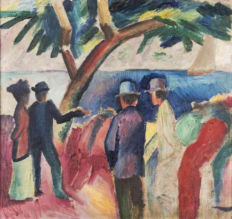 August Macke privilégie, quant à lui, l'usage de la couleur selon une approche «plus raisonnée, formaliste et naturaliste».