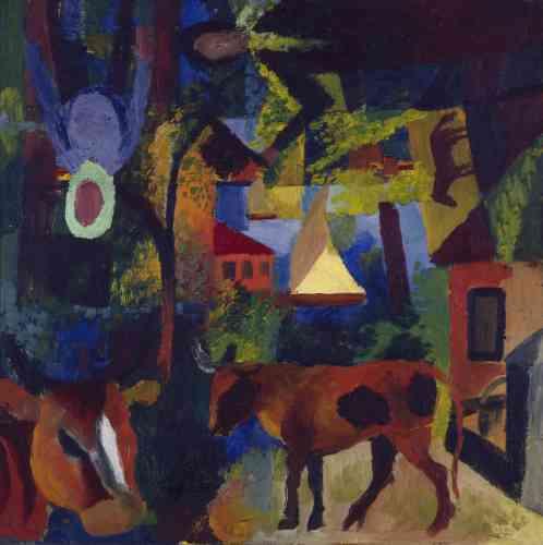 Le futurisme et l'expressionnisme confèrent à sa peinture un nouvel élan dynamique: il tend vers une abstraction des formes et des paysages en ayant recours à une palette plus sombre.