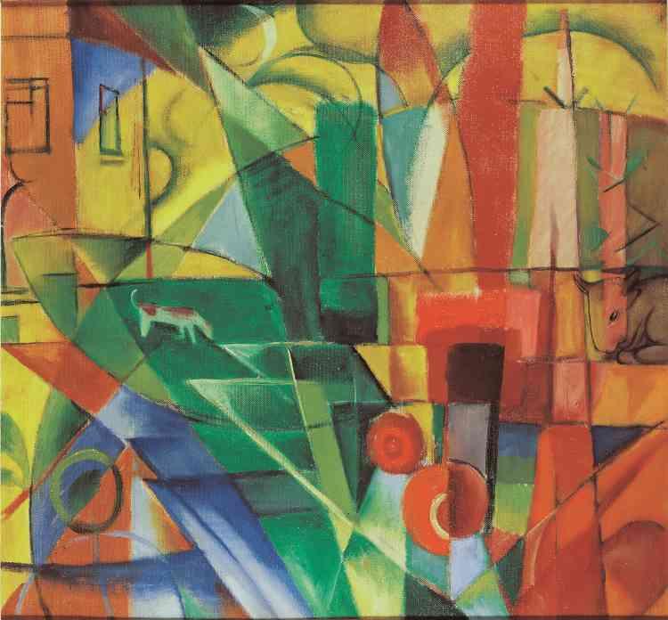 Il disloque ses figures jusqu'à peindre‒ à la fin de vie écourtée par la guerre‒ des formes pures et abstraites.