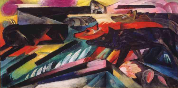 Dans les mois qui précèdent la guerre, Franz Marc, animé par un désir d'absolu, opère une simplification des formes qui le fait basculer dans l'abstraction: des représentations dans lesquelles l'homme est exclu au profit des animaux (emblèmes de«la pureté originelle»).