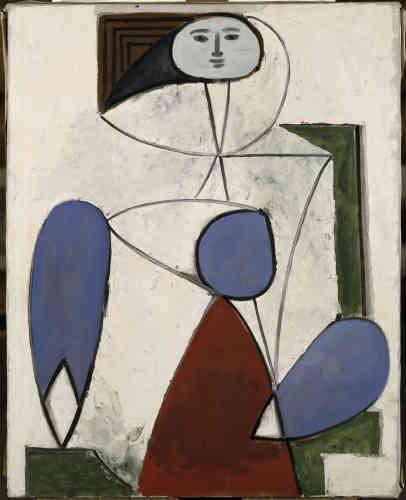 """«Cette œuvre de l'après-guerre reprend un des thèmes de prédilection de l'artiste espagnol. Picasso fait de ce personnage une partie du décor en le fusionnant avec le mobilier. L'équilibre construit entre les traits courbes du modèle et les droites dessinant le fauteuil, ainsi que l'utilisation de couleurs primaires et la superposition des formes font de ce tableau une """"recréation plus abstraite et plus librement reconstruite de la femme-fleur de 1946"""", selon Pierre Daix.»"""