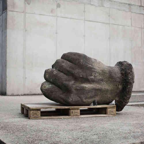 Les restes d'une statue de Stalin démolie en 1956 au Memento Park de Budapest, en Hongrie.