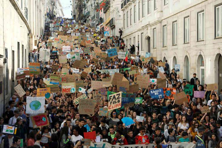 La mobilisation à Lisbonne, au Portugal.