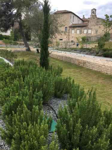 Egalement distinct du musée, le Jardin archéologique est une évocation, sur plusieurs niveaux, de jardins protohistoriques, romains ou médiévaux de la région nîmoise. La palette végétale comprend de la lavande et du romarin (ici au premier plan), ainsi que des amandiers, des cerisiers, des chènes verts ou des pins.