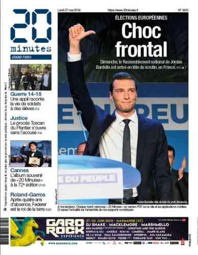 Le quotidien« 20 minutes» titre sur le score du Rassemblement national, arrivé en tête des votes en France. Une domination illustrée par un portrait, ému, du jeune Jordan Bardella.