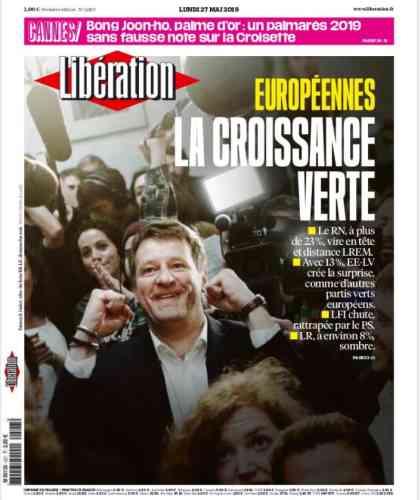 «Libé» salue«la croissante verte»du scrutin en « une».Son directeur de la rédaction, Laurent Joffrin, s'interroge : « Cette déroute [de LR], comme l'échec de Macron, en même temps que la percée verte et la survie du PS reposent une question cruciale : qui peut contrer le nationalisme conquérant? »