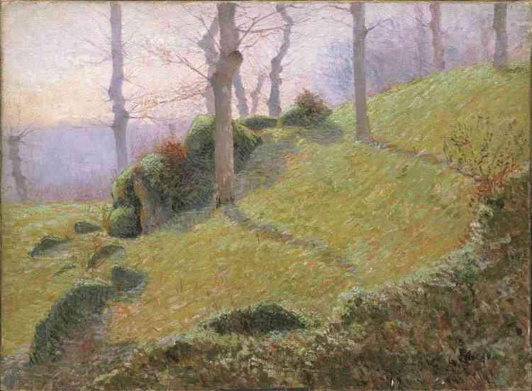 «Peintre de Montmartre et de Pontoise, Loiseau découvre Pont-Aven en 1890. Il se montre alors peu réceptif à l'esthétique du groupe de Pont-Aven qu'il n'expérimentera que plus tard. Cette peinture atteste d'une touche rapide pour représenter le motif. Les cimes tronquées des arbres projettent des ombres colorées caractéristiques des impressionnistes. »