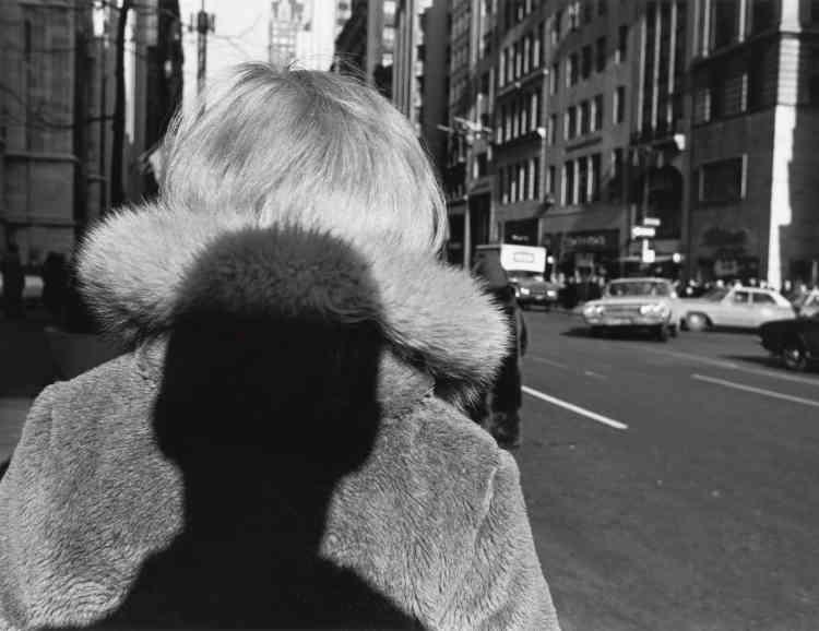 «Elément central de l'image, l'ombre du photographe s'abat, menaçante, sur le manteau de fourrure d'une femme qui marche dans les rues de New York. Grâce à son ombre portée, Lee Friedlander fait entrer dans la composition ce qui se trouve hors-champ, créant ainsi un effet d'intrusion qui n'est pas sans rappeler l'ambiance anxiogène de certains films noirs.»