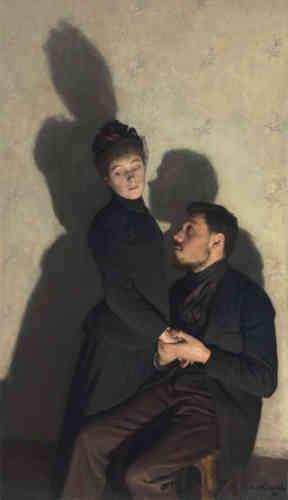 «Les ombres constituent le sujet de cette œuvre d'Emile Friant. Celle de l'homme, sombre et compacte, est représentée avec netteté dans le centre du tableau, tandis que celle de la femme, allongée et vibrante, semble vouloir en sortir. Tout se joue au milieu de la composition: l'ombre du visage de l'homme, frôlant le visage de la femme, pourrait l'embrasser. Elle rend manifeste ce que suggèrent le regard implorant du premier et les yeux détournés de la seconde.»