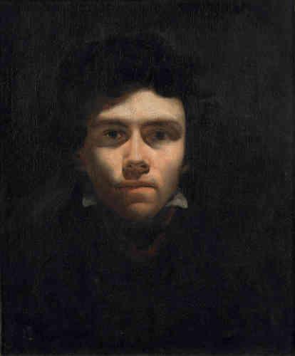 «Dans ce saisissant autoportrait réalisé à l'âge de 20ans, Eugène Delacroix se peint de face, surgissant de l'ombre, affirmant une gravité juvénile, un aplomb introspectif et un caractère ténébreux. L'effet est renforcé par un inquiétant clair-obscur et une technique inspirés de Rembrandt. Cette affirmation visuelle de soi en dit long du tempérament et de la détermination du jeune peintre, qui est alors en formation dans l'atelier de Pierre-Narcisse Guérin.»