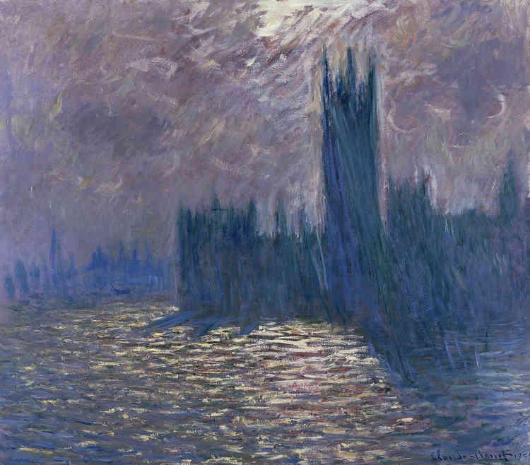 «Dans cette œuvre réalisée d'après photographie à Giverny, Claude Monet observe le Parlement de Westminster dans un spectaculaire contre-jour, qui plonge la façade néogothique dans une ombre floue et fantomatique, résumant l'édifice à sa silhouette emblématique. L'ombre dans laquelle baigne le Parlement et son ombre portée qui s'entremêle aux chatoiements du soleil sur le fleuve sont le véritable sujet de ce tableau remarquable.»