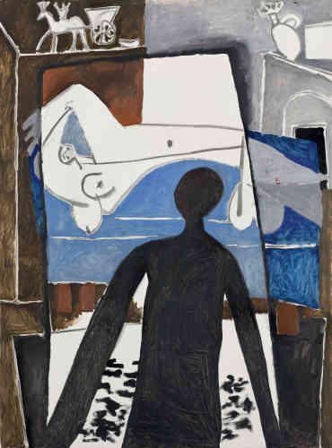 «L'ombre portée, qui est le sujet principal du tableau, est-elle celle d'un voyeur, d'un intrus, du spectateur ou celle du peintre, Pablo Picasso? Inquiétante, elle s'introduit brutalement à l'intérieur de l'atelier, dans une composition rappelant aussi bien les photographies où apparaissent l'ombre du photographe que les scènes angoissantes de films à suspense.»