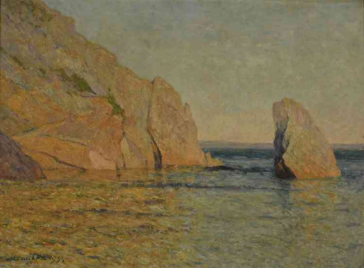 «Alors qu'il est jeune artiste, Maufra découvre l'œuvre de Turner lors d'un séjour en Angleterre au début des années 1880. Son approche du paysage en est changée: au moyen de traits de pinceaux pluriels, il exprime avec sensibilité la lumière changeante et cuivrée du soir. »