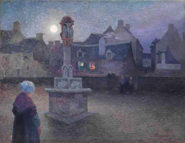 «En tant qu'artiste sériel, Puigaudeau élabore plusieurs œuvres similaires à Rochefort-en-Terre lors de son séjour, en 1894. Partant d'un même point de vue, la Lune et les lumières des habitations éclairent la place et le calvaire conférant une ambiance mystérieuse à la scène. »
