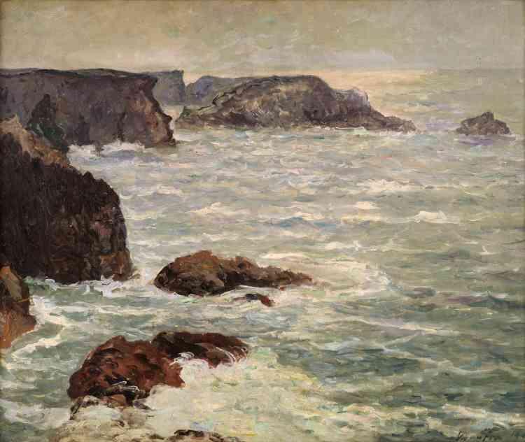 «A l'instar de Monet, Maufra exécute de nombreuses toiles inspirées par Belle-Ile. Ses œuvres belliloises figurent dans les expositions organisées par Paul Durand-Ruel en 1907 et 1910. Le regard de l'artiste plonge sur la mer et les rochers, laissant peu de place au ciel– à la manière du peintre de Giverny. »