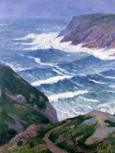 «Familier des îles et côtes sauvages bretonnes, Henry Moret peint de nombreux paysages dans lesquels il applique en petites touches la matière picturale. A partir d'une palette aux harmonies inédites, ce peintre s'approprie autant l'impressionnisme de Monet que le synthétisme de Gauguin. »