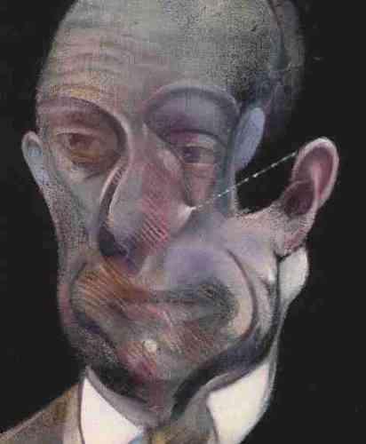 """«A deux reprises, en 1976 et en 1978, Francis Bacon réalise le portrait de Michel Leiris. Le peintre et l'écrivain ont fait connaissance en 1975, lors du vernissage de la rétrospective """"Alberto Giacometti"""", présentée à la Tate Gallery de Londres. Leur relation s'intensifie à l'occasion des nombreux séjours parisiens de Bacon au milieu des années 1970. Le portrait de 1978 est à la fois plus réaliste et complexe que le premier. Néanmoins, pour le peintre: """"Des deux portraits que j'ai faits de Michel Leiris, celui qui est le moins littéralement lui est en réalité celui qui lui ressemble de la manière la plus poignante."""" Francis Bacon a vu, dans les écrits de Leiris, le miroir littéraire de son entreprise picturale. Leiris, comme lui, n'a cessé de réfuter toute idée de permanence, de fixité des êtres et des choses.»"""