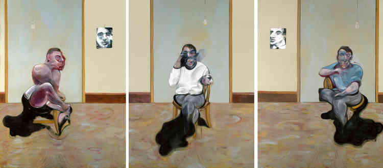 """«Le triptyque aux trois portraits de 1973 traque le """"temps perdu"""" dont Bacon se disait alors préoccupé. Les figures de George Dyer (à gauche) et de Lucien Freud (à droite) flanquent un autoportrait, faisant du tableau le monument à une amitié qui, pour Bacon, se nourrit de ferveur sentimentale et de rivalité exacerbée, d'attachement inconditionnel et de pulsions destructrices. Pendant près de trente ans, Freud et Bacon semblaient inséparables. Que leur amitié ait pris fin au moment où Bacon s'éprend de Peter Lacy dit assez de quelle nature passionnée était cette relation. La rencontre de Bacon avec Dyer a lieu en 1964. Jusqu'à la mort tragique de Dyer, en 1971, le peintre entretient avec lui une relation alternant générosité et cruauté. La dépendance de Dyer à l'égard de Bacon se dit dans le triptyque, par la pose que lui donne l'artiste. Peintre comme Bacon, Freud se tourne lui vers ce monde dont il fait la matière de son art.»"""
