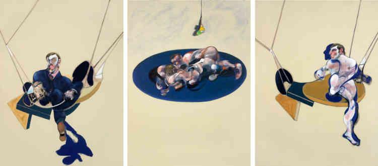 """«Loin du pathos par lequel se résume trop souvent l'exégèse de l'œuvre de Bacon, le chromatisme et le sujet de ce triptyque en font une peinture fraîche et printanière. En 1953, installant les lutteurs des chronophotographies de Muybridge sur une couche drapée de blanc, Bacon avait donné forme à une des premières peintures explicitement homo-érotiques. Jusqu'à leur réapparition dans l'ultime triptyque de Bacon (""""Triptych"""", 1991), les """"lutteurs"""" ont acquis le statut d'emblème érotique et sont devenus le """"trait d'union"""" entre les personnages des panneaux latéraux. Muybridge lui a aussi inspiré les structures filiformes auxquelles sont suspendues les figures qui les flanquent. Elles empruntent leurs formes aux transats dans lesquels le photographe avait installé des modèles féminins pour en étudier les mouvements. Loin des """"cages"""" coercitives dans lesquelles échouaient nombre de ses modèles, c'est sur une balançoire que Bacon les installe dans ce triptyque joyeusement ensoleillé.»"""