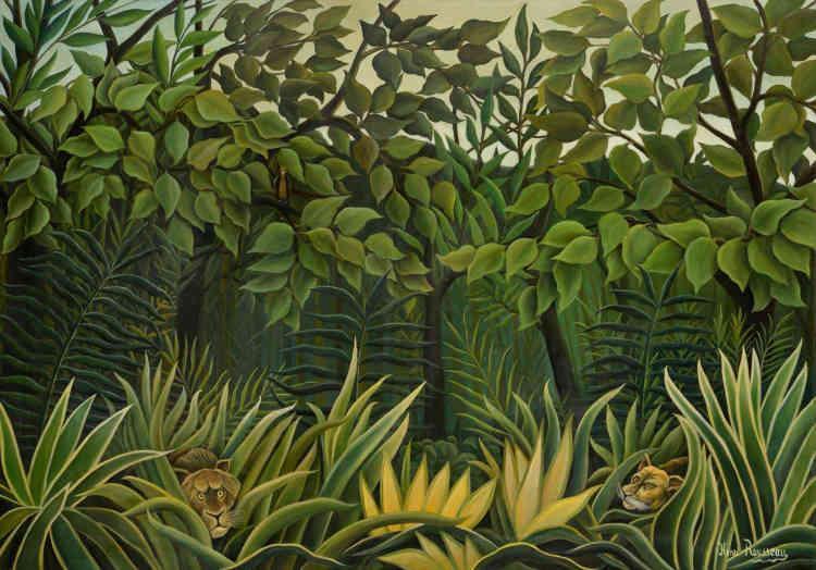 «Oublié à Paris pendant environ trente-cinq ans, ce tableau d'Henri Rousseau, récupéré et vendu en 2016, fut réalisé à la toute fin de sa vie et représente une forêt vierge, touffue, de laquelle émergent deux têtes de fauves – un lion à l'affût, la lionne étant plus en retrait – et un oiseau posé sur une branche : ce sont ces jungles qui stupéfiaient le public à l'époque et qui ont le plus contribué à la légende d'Henri Rousseau, bien que son inspiration venait en majeure partie de ses visites au Jardin des plantes et de livres illustrés – comme les bestiaires des Galeries Lafayettes. »