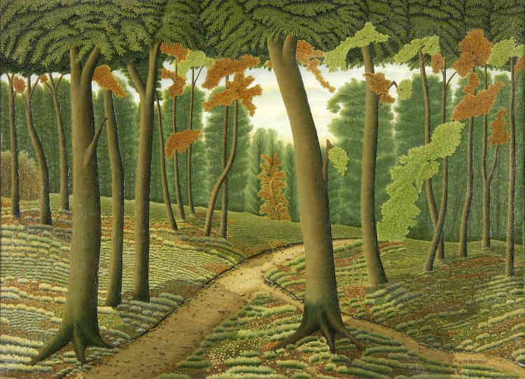 «Ce tableau est sans aucun doute un des chefs-d'œuvre de Dominique Peyronnet, imprimeur spécialisé en lithographie des couleurs, qui se consacre à la peinture à partir de 1920 mais qui ne produira qu'une trentaine de tableaux jusqu'à la fin de sa vie – dont des marines pour la plupart. Cette forêt nous saisit par sa lumière onirique. »