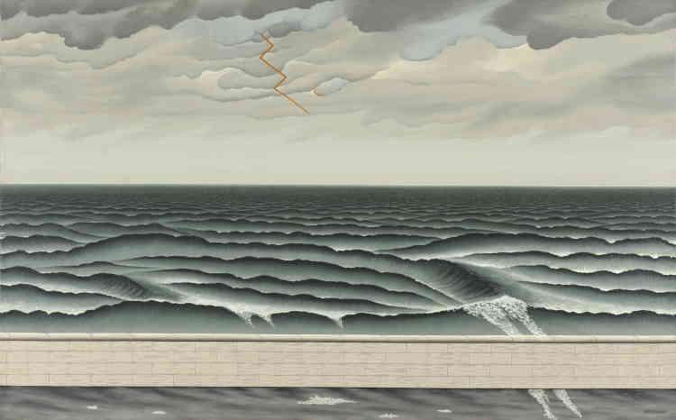 «Le grand sujet de Dominique Peyronnet sont les marines ou, plus exactement, les bords de mer, vus frontalement, désertés de toute présence humaine, qui semblent vouloir saisir ou apprivoiser l'élément liquide. Un tableau presque surréel qui peut faire penser à Magritte. »