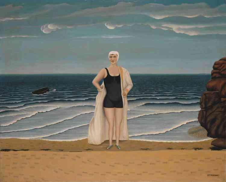 """«Ce tableau nous dévoile tout le talent de Dominique Peyronnet pour capter les infinies variations de la lumière sur la mer d'où émerge cette Vénus moderne : l'artiste passe ses étés en bord de mer, près du Tréport, où il se concentre sur le sujet des marines qui devient obsessionnel. Intégré en 1937 par Maximilien Gauthier dans son exposition """"Les Maîtres populaires de la réalité"""", il fait dès lors partie du groupe des artistes dits """"naïfs"""". »"""