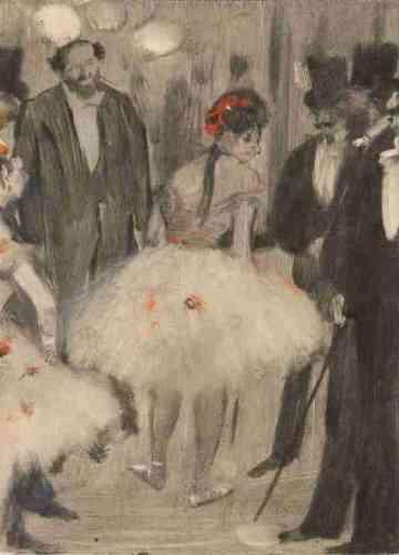 «Les abonnés avait l'insigne privilège d'accéder au foyer de la danse, où ils pouvaient à loisir fréquenter les danseuses. Degas s'inspire de l'atmosphère du texte de Ludovic Halévy, librettiste d'opéra et, comme lui, habitué de ces lieux, pour exprimer l'ambiance des coulisses : Virginie est poussée par sa redoutable mère dans les bras duriche et vieux marquis Cavalcanti, prostitution à peine déguisée qui était l'envers dudécor de l'Opéra.»Leïla Jarbouai