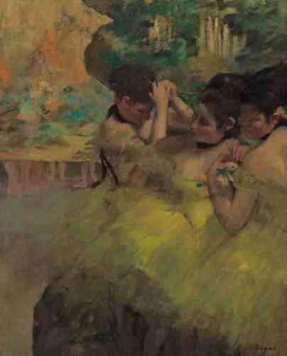 «Coupées par le bord du cadre, ou par les portants des décors qui ne laissent apparaître que leurs jambes, les ballerines forment pour Degas un éternel ballet… et la source de compositions où les réalités de l'Opéra se mêlent aux souvenirs et aux fantaisies de l'artiste. Cette œuvre, toute de jaunes et de verts, restitue ainsi probablement autant d'impressions de scène que l'imaginaire fécond du peintre.»Marine Kisiel