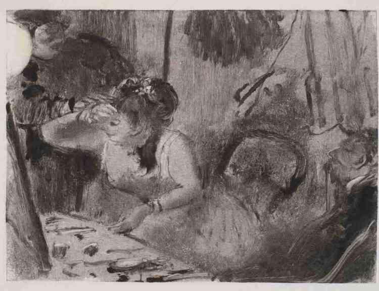 """«Degas a toujours cherché la meilleure adéquation possible entrela technique etle sujet représenté. Pour les scènes d'intimité, liées à l'Opéra, représentations de scènes de maisons closes et de loges de cafés-concerts, il a souvent utilisé la technique dumonotype, qui permet une distance face au sujet représenté, par le recours àl'impression. L'artiste s'intéresse au quotidien des danseuses, ces reines faites """"de distance et de fard"""" et dévoile la fabrique de leur beauté artificielle.»Leïla Jarbouai"""