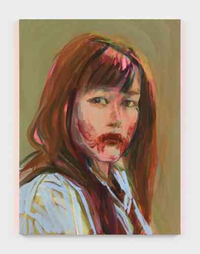 «Dans cette toile, Claire Tabouret donne sa version personnelle du devenir-vampire contemporain : son Self-portrait as a vampire exhibe une bouche barbouillée de maquillage, de matière pigment ou de sang. Quelque chose de perturbant, voire de borderline, altère la beauté féminine, et exhibe frontalement une face habituellement cachée. Il existe au cinéma une longue tradition d'héroïnes vampires, du Vampyr d'Allan Dreyer à Only Lovers Left Alive de Jarmusch».