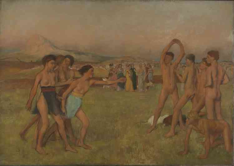 """«Cette peinture d'histoire, qui puise son sujet dans Plutarque et des travaux d'archéologues contemporains, est la première véritable scène de danse de Degas. Commencée en 1860, retravaillée pendant des années, elle a d'ailleurs failli être exposée par l'artiste aux côtés de """"La Petite Danseuse de14ans"""". Inversant les rôles traditionnellement dévolus aux sexes, il met en scène une chorégraphie de jeunes gens promis à la gestuelle expressive.»Leïla Jarbouai"""