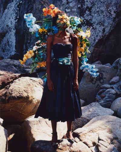 Sac Triomphe en serpent d'eau, Celine par Hedi Slimane. Escarpins Dior Gang en tissu avec broche en ruthénium et robe en taffetas, Dior.