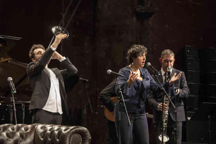 Marion Rampal et Pierre-François Blanchard et son groupe ont rythmé la nuit du Monde Festival jusqu'à l'aube, samedi5octobre2019 au Théatre des Bouffes du Nord.