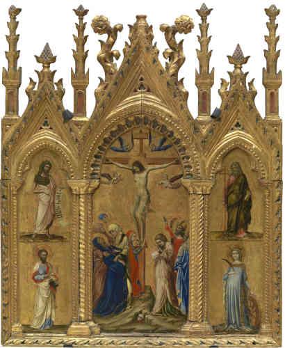 Ce triptyque portatif constitue un sommet non seulement du corpus de Guariento, mais de toute la deuxième moitié du Trecento vénitien. Le panneau central représente une Crucifixion qui dégage un intense pathétisme avec l'évanouissement de la Vierge et le recueillement douloureux de saint Jean-Baptiste. De style gothique flamboyant, le cadre sculpté conserve des traces de peinture rouges et bleues.