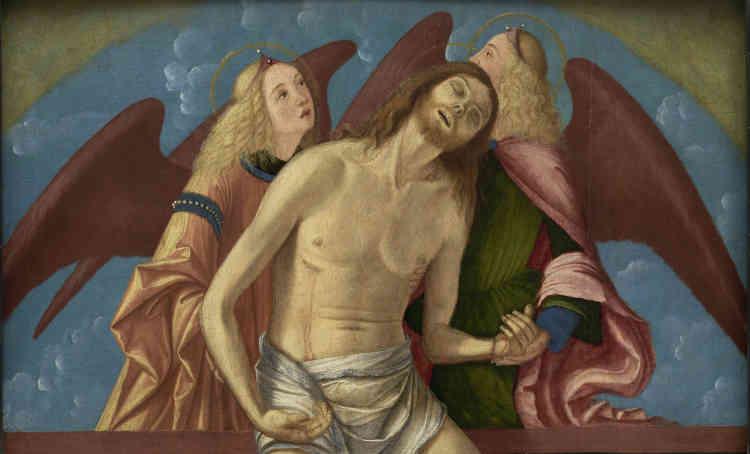 Ce panneau représente l'Engel-Pietà, c'est-à-dire le corps du Christ mort soutenu par deux anges. Ce type iconographique se répand en Vénétie à partir du prototype de Donatello pour la prédelle de l'autel en bronze de la basilique San Antonio de Padoue. Cette lunette constituait probablement le sommet d'un triptyque portatif reprenant le modèle d'un retable.