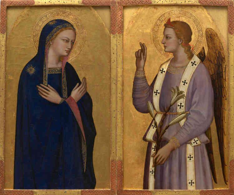 Les frères di Cione (Andrea dit Orcagna, Nardo et Jacopo) travaillaient aussi bien avec des associés qu'avec des collaborateurs extérieurs. Tous les retables auxquels ils ont contribué ne sont pas d'une seule main. Ces deux panneaux constituent un témoignage de la production de cet atelier. On peut les dater d'avant les fresques de la chapelle Strozzi à Santa Maria Novella (Florence), c'est-à-dire du début des années 1350.
