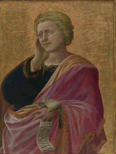 Ce portrait saisissant de saint Jean l'Évangéliste (probable fragment d'une Lamentation sur le Christ mort) est une œuvre de jeunesse de Filippo Lippi. L'impression de volume quasi sculpturale de la figure – renforcée par le fond d'or lisse – reflète l'étude attentive de l'œuvre de Masaccio par le jeune artiste.