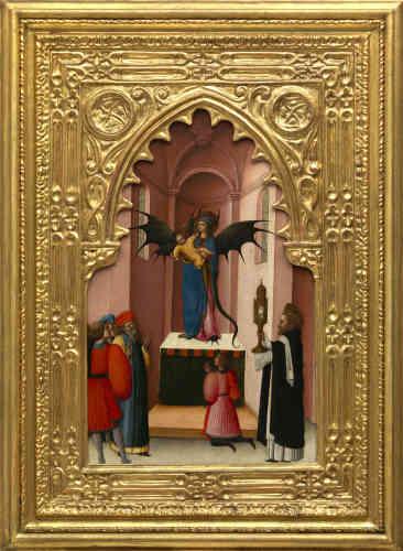 Ce panneau illustre l'un des épisodes de la vie de saint Pierre Martyr, dominicain véronais ayant vécu vers la fin du XIIe siècle et le début du XIIIe. Le saint est documenté dans de nombreux couvents italiens, et l'on trouve la source la plus ancienne de son histoire dans la biographie écrite par Béranger de Landorre (1316). Elle donne lieu ici à une image insolite et amusante d'une statue mi-Vierge, mi-démon.